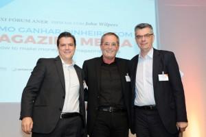 Presidente da ANER Fábio Petrossi Galllo com Walter Longo – Presidente do Grupo Abril e Marcelo Rech – Presidente da ANJ