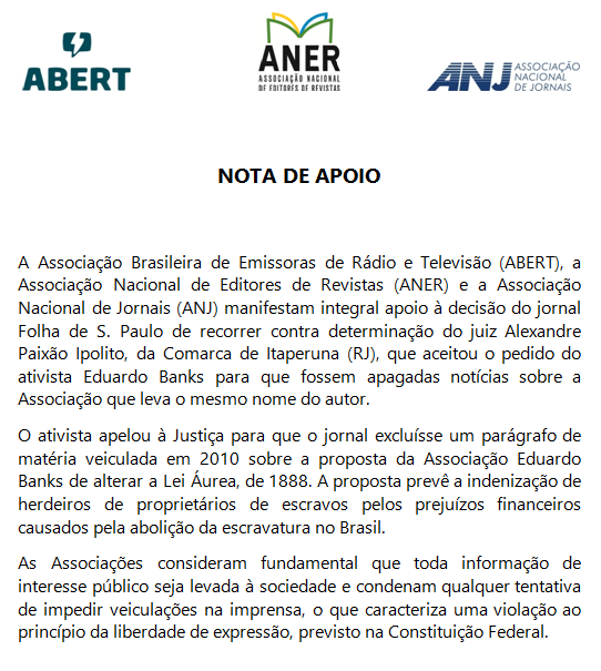 Nota de Apoio ANER ABERT ANJ